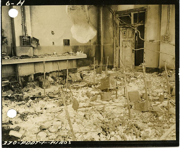 Fire damaged chemical lab Hiroshima; from Wikimedia; public domain