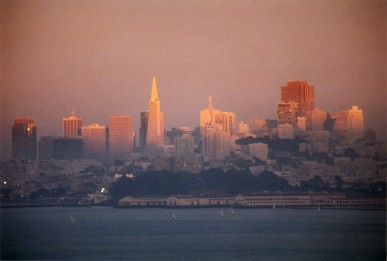 May 1995. USA, California, San Francisco. View of the city from the north side of Golden Gate Bridge.