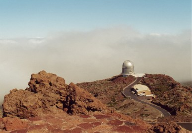 October 2000. La Palma. One of the astronomical observatories seen from above.