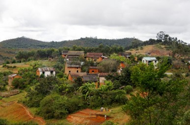 July 2010. Madagascar, view on a red island landscape along the road from Antananarivo to Andasibe.