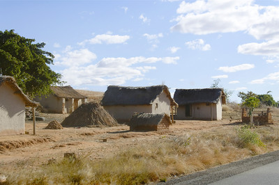 Small houses towards the south of Madagascar