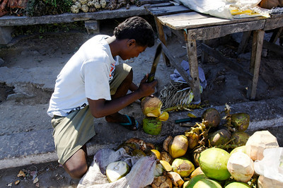 Coconut vendor along the road
