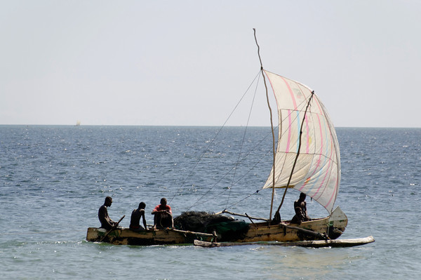 Fishermen in their pirogue